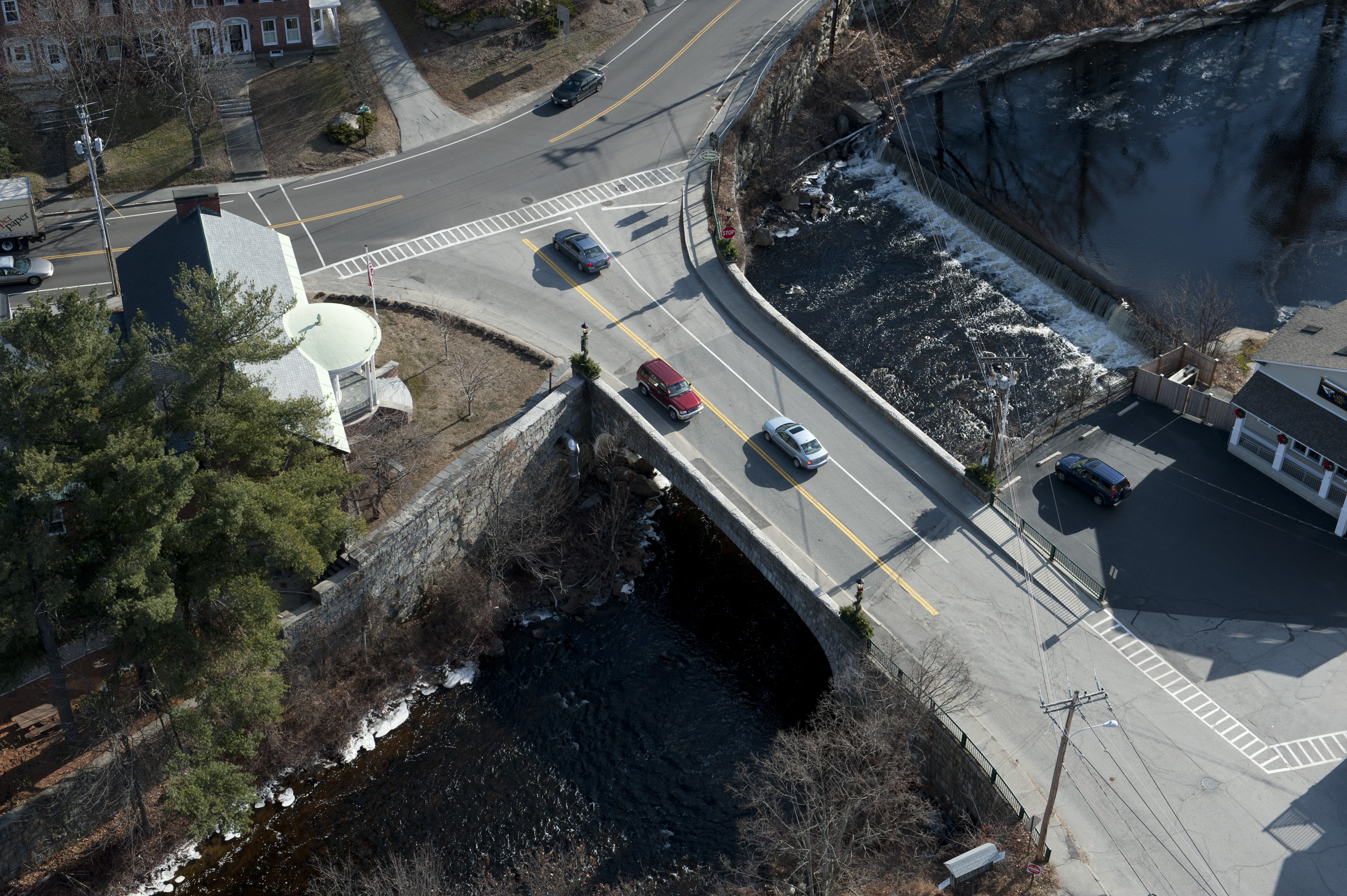 Aerial View of Main St Bridge & Intersection with Rte 202
