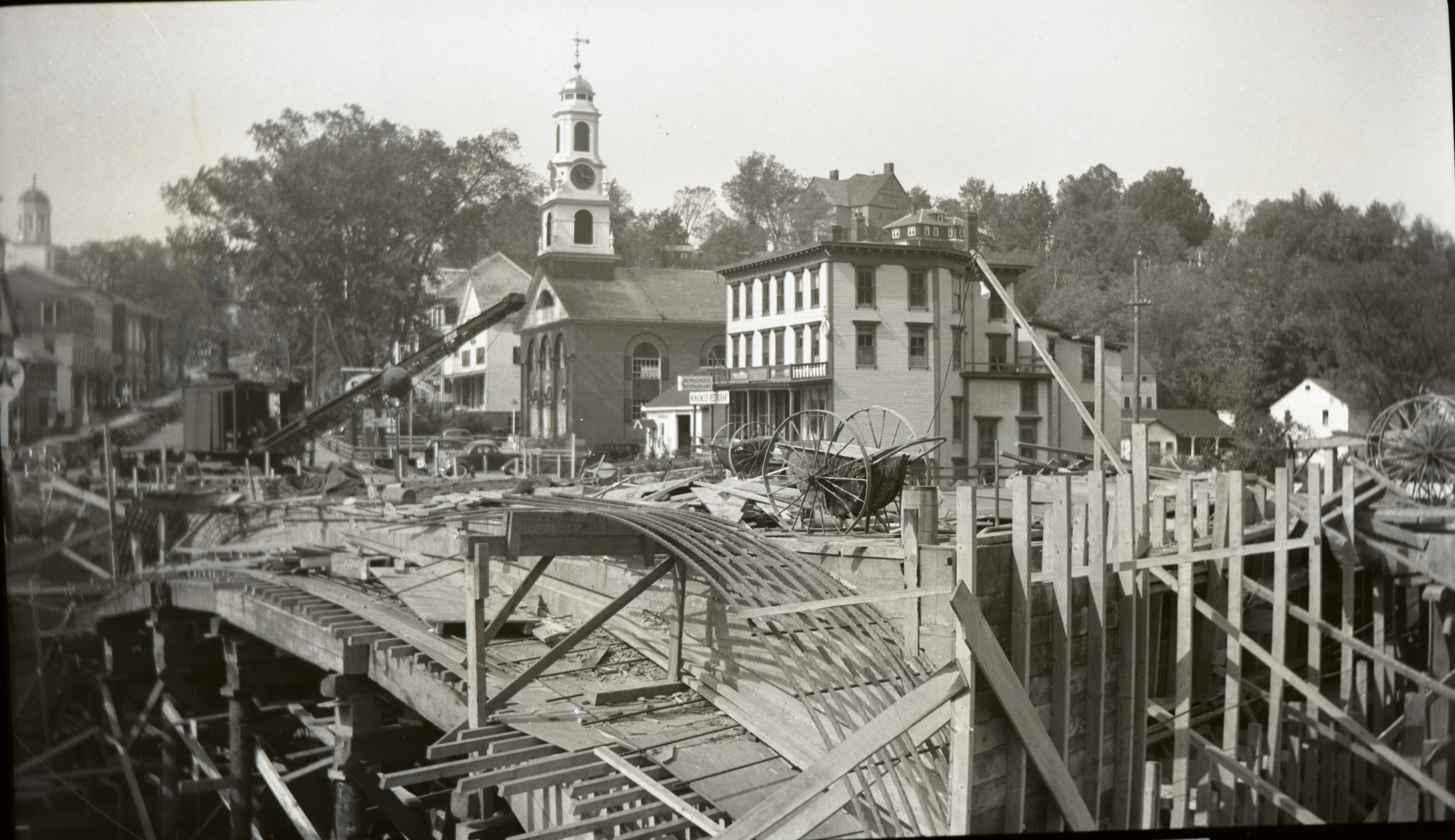 1940 Bridge Construction - Formwork & Reinforcing Looking NW with Crane